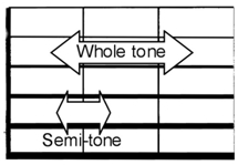Showing tones and semi-tones distance